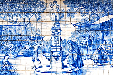 Street scene with fountain, market, historical Azulejo tile picture, painted ceramic tiles, Funchal, Madeira, Portugal, Europe