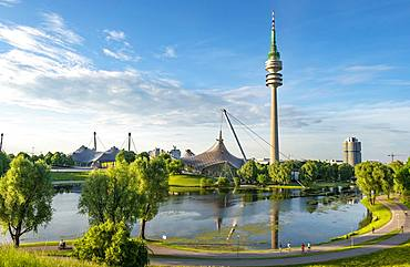 Olympic Area, park with olympic lake and television tower, Olympiaturm, Theatron, Olympiapark, Munich, Upper Bavaria, Bavaria, Germany, Europe