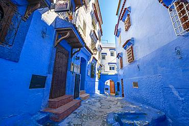 Narrow lane with blue houses, Medina of Chefchaouen, Chaouen, Tanger-Tetouan, Morocco, Africa