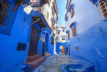 Narrow lane with blue houses, Medina of Chefchaouen, Chaouen, Tanger-Tetouan, Morocco, Africa