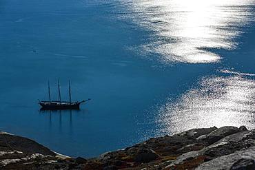 Sailing ship and light reflections on the water surface, Scoresbysund, East Greenland, Greenland, North America