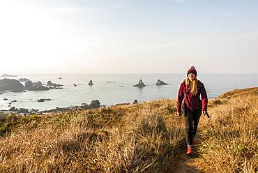 Young woman on a hiking trail along the rugged coast with many rocks, Whaleshead, Samuel H. Boardman State Scenic Corridor, Oregon, USA, North America