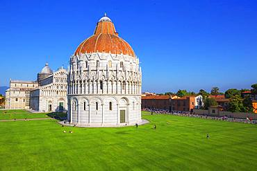 Baptistery and Cathedral view, Campo dei Miracoli, Pisa, Tuscany, Italy, Europe