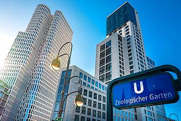 Upper West and Waldorf Astoria Hotel at subway station Zoologischer Garten, Berlin, Germany, Europe