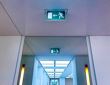 Information sign for escape route, emergency exit in a building, Germany, Europe
