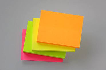 Post it Stacks, notepads, various colorful colors, Germany, Europe