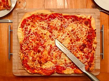 Homemade pizza with tomatoes and cheese on wooden board, Germany, Europe