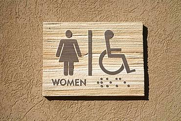 Shield WC Ladies and handicapped from sandstone, Canyonlands National Park, Utah, USA, North America