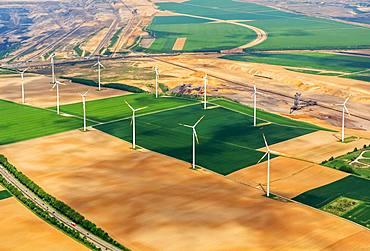 Aerial view, wind farm at the lignite opencast mine Garzweiler, North Rhine-Westphalia, Germany, Europe