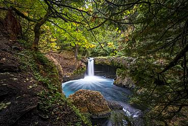 Spirit Falls, waterfall flows over rocky outcrop, basalt rock, time exposure, Washington, USA, North America