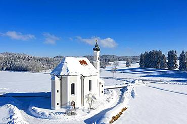 Church St. Leonhard, Leonhardikirche in Winter, near Dietramszell, drone shot, Toelzer Land, Upper Bavaria, Bavaria, Germany, Europe