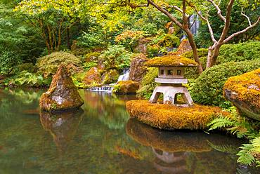 Pond with shrine and waterfall, Japanese garden, Portland, Oregon, USA, North America