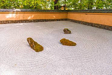 Japanese garden with gravel surface as symbol for water, Portland, Oregon, USA, North America