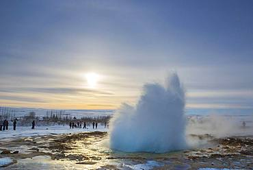 Geyser Strokkur during an eruption, Golden Circle, South Iceland Region, Iceland, Europe