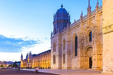 Mosteiro dos Jeronimos, Monastery of the Hieronymites at sunset, Belem district, Lisbon, Portugal, Europe