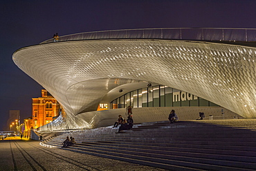 MAAT, Museum of Art Architecture and Technology at night, Belem district, Lisbon, Portugal, Europe