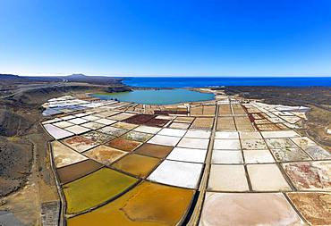 Salt extraction plant, Salinas de Janubio, near Yaiza, drone shot, Lanzarote, Canary Islands, Spain, Europe