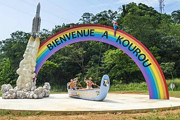 Welcome sign at the entrance of Kourou, French Guiana, South America