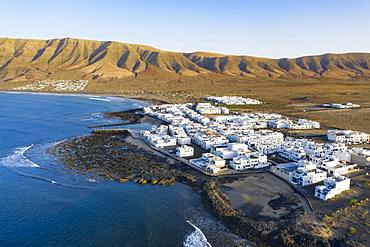 Caleta de Famara, drone shot, Lanzarote, Canary Islands, Spain, Europe