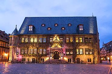Town Hall at dusk, Quedlinburg, Saxony-Anhalt, Germany, Europe