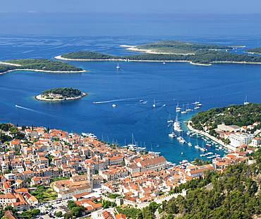 Overview of Old Town with harbour and Pakleni Islands, Hvar, Hvar Island, Dalmatia, Croatia, Europe