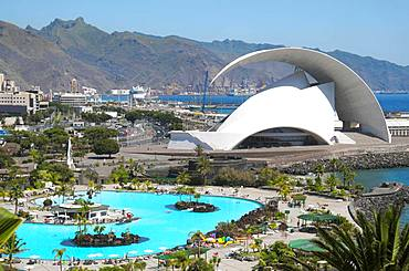 Overview of Parque Maritimo outdoor pool in Cesar Manrique and Auditorio de Tenerife concert hall, Santa Cruz de Tenerife, Tenerife, Canary Islands, Spain, Europe