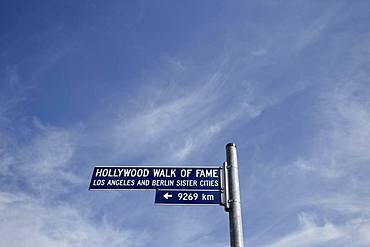 Street sign Hollywood Walk of Fame, Potsdamer Platz, Berlin, Germany, Europe