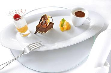 Dessert plate, fruits, chocolate, coffee, Germany, Europe