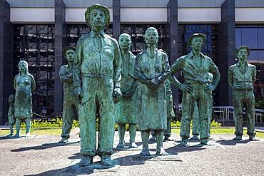 Figures Los Presentes by Fernando Calvo, Monument of Costa Rican Workers in front of the Central Bank, Banco Central de Costa Rica, San Jose, Province of San Jose, Valle Central Region, Costa Rica, Central America