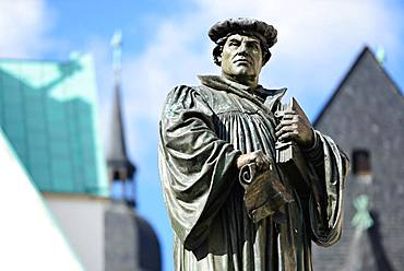 Martin Luther memorial on the market square, birthplace and death town, Eisleben, Saxony-Anhalt, Germany, Europe
