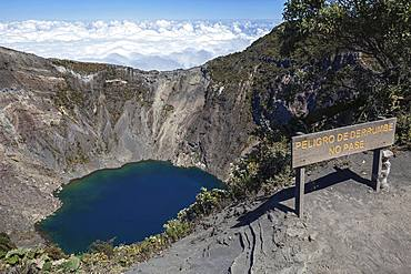 Main crater Irazu Volcano with blue crater lake, Irazu Volcano National Park, Parque Nacional Volcan Irazu, Cartago Province, Costa Rica, Central America