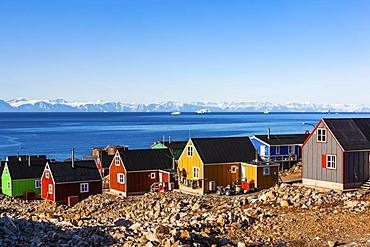 East Greenland City Ittoqqortoormiit, Scoresbysund, East Greenland, Greenland, North America