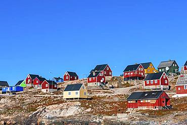 Colorful houses, East Greenland town Ittoqqortoormiit, Scoresbysund, East Greenland, Greenland, North America
