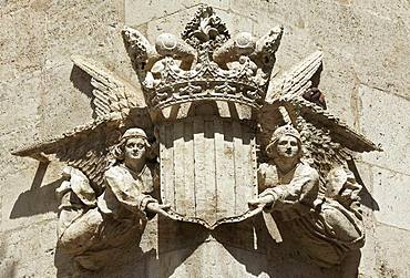 Angel with city coat of arms, relief, Gothic facade, Silk Exchange, Llotja de la Seda, Old Town, Ciutat Vella, Valencia, Province of Valencia, Spain, Europe
