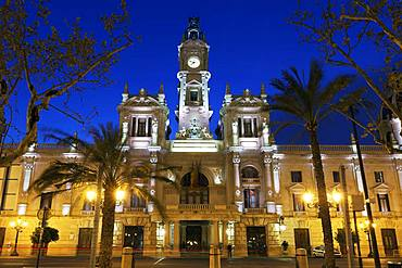 City Hall, Ajuntament, night, illuminated, eclectic architectural style, Valencia, Spain, Europe