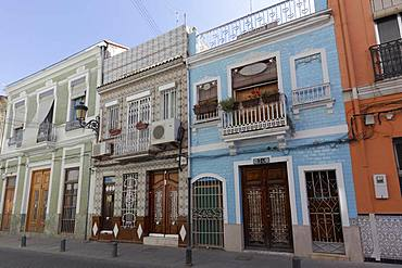 Historic houses with ceramic facades, El Cabanyal district, Valencia, Spain, Europe