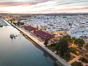 City view with two market buildings in the evening, river Ria Formosa, Olhao, Algarve, Portugal, Europe