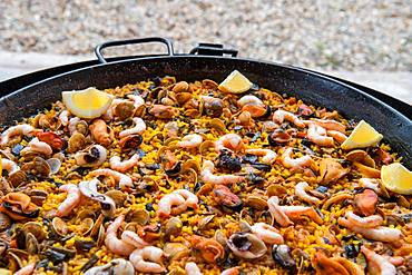 Spanish paella, rice pan with seafood, Andalusia, Spain, Europe