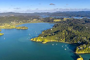 Aerial view of the Bay of Islands with islands and sailboats, Far North District, North Island, New Zealand, Oceania