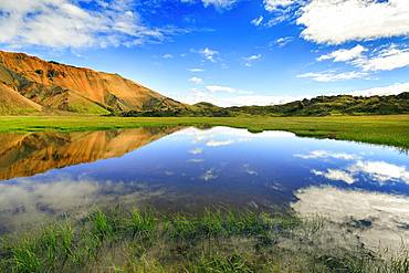Blue sky and white clouds reflected in water surface, flooded meadow, Landmannalaugar, highlands, Iceland, Europe