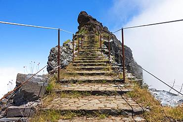Stairs and hiking trail to the summit of Pico do Arieiro, Madeira Island, Portugal, Europe