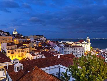 View from Miradouro Santa Luzia to the old town, evening sky, Alfama district, Lisbon, Portugal, Europe