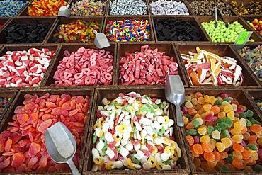 Various colorful sweets, street market in S'Arenal, Majorca, Balearic Islands, Spain, Europe