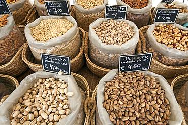 Various nuts for eating, street market in S'Arenal, Majorca, Balearic Islands, Spain, Europe