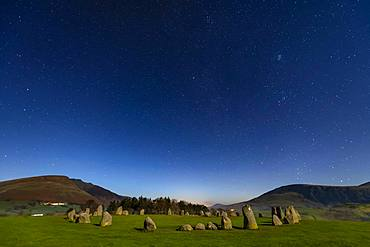 Stone circle at full moon with starry sky, Keswick, Yorkshire Dales National Park, Central England, Great Britain