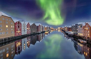 Winter, Bakklandet, Warehouses, Trondheim, Norway, Europe