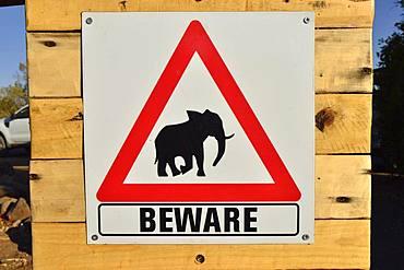 Warning sign for elephants, Palmwag Concession, Damaraland, Namibia, Africa