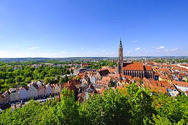 St. Martin's Church and old town, view from castle Trausnitz, Landshut, Lower Bavaria, Bavaria, Germany, Europe