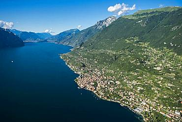 Lake Garda east shore with Malcesine and Monte Baldo, aerial view, Province of Veneto, Italy, Europe