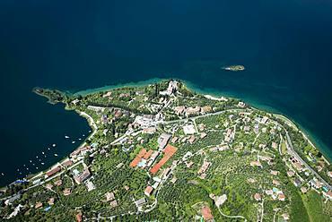 Val di Sogno near Malcesine on Lake Garda, aerial view, Province of Veneto, Italy, Europe